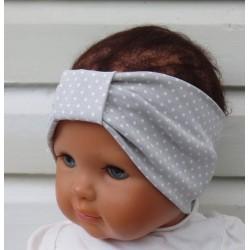 Stirnband Kinder Mädchen Sommer Grau Punkte Weiß aus Jersey genäht. Partnerlook im Shop. Farbe, KU 36-55 nach Wunsch.