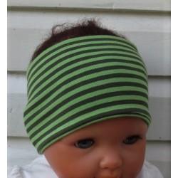 Stirnband Jungen Sport Kinder Jersey Grün Streifen Grau meliert genäht. Schal im Shop. KU 36-55 nach Wunsch.
